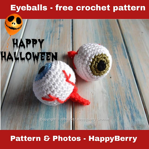 Free Halloween crochet pattern - eyeballs