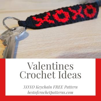 Valentine Crochet Ideas – XOXO keychain FREE Pattern