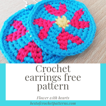 Crochet earrings free pattern – Flower with hearts