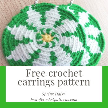 Free earrings crochet pattern - Spring Daisy