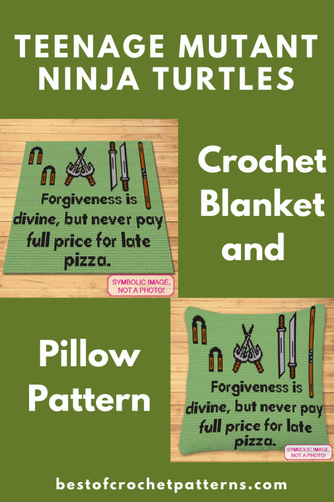 Ninja Turtle Leonardo Quote Blanket and Pillow Pattern