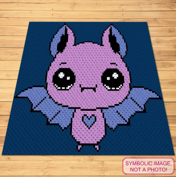 Crochet Bat Pattern - C2C Halloween Blanket and Pillow Pattern