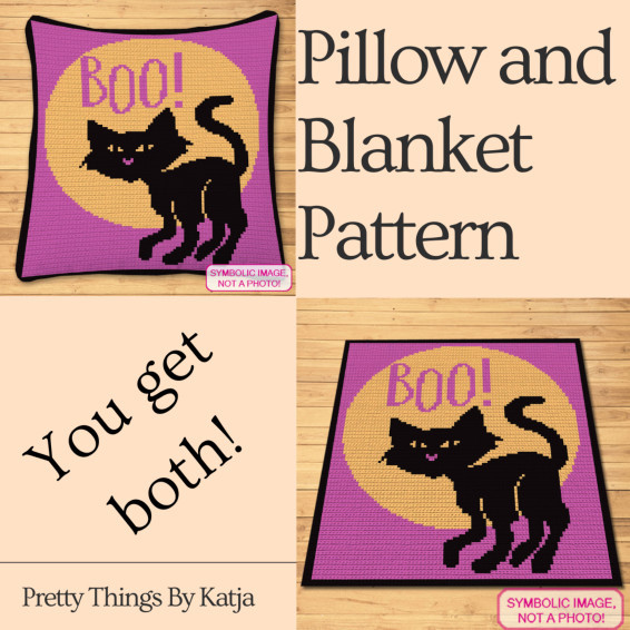 Crochet Halloween Cat - Crochet Blanket and Pillow Pattern