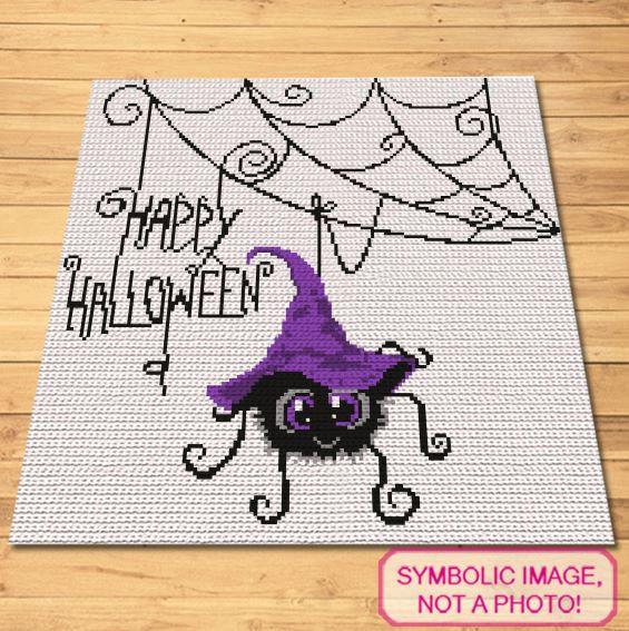 Halloween Crochet Spider - Halloween Crochet Blanket and Pillow Pattern